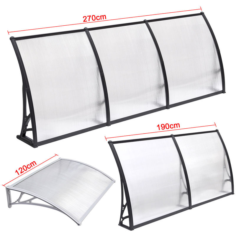 Durable Solid Polycarbonate Awning , PC Door Canopy Patio Cover Long Life Span