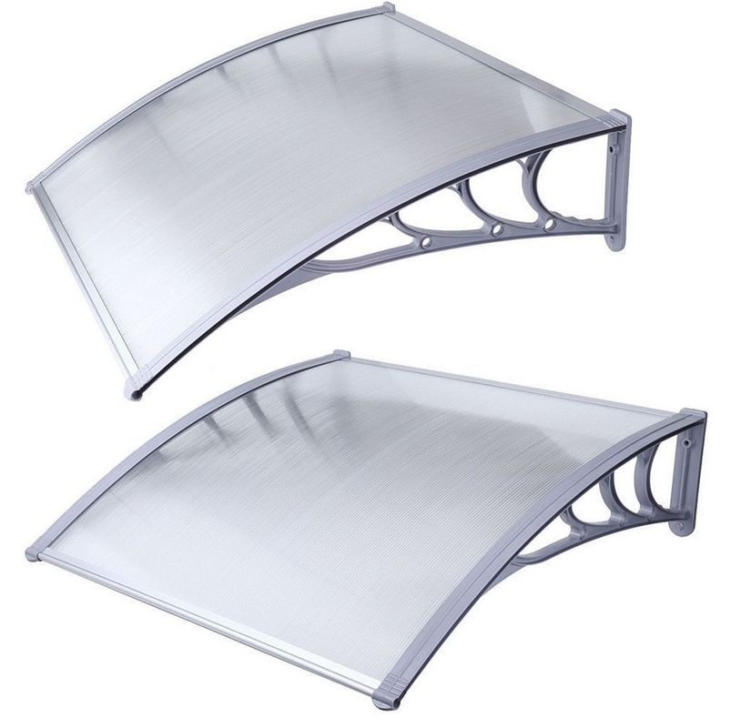 White PC Door Canopy , Outdoor Polycarbonate Awning PC Coated Sail Finishing